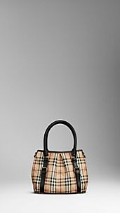 Small Haymarket Check Belted Tote Bag
