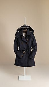 Cotton Twill Hooded Trench Coat