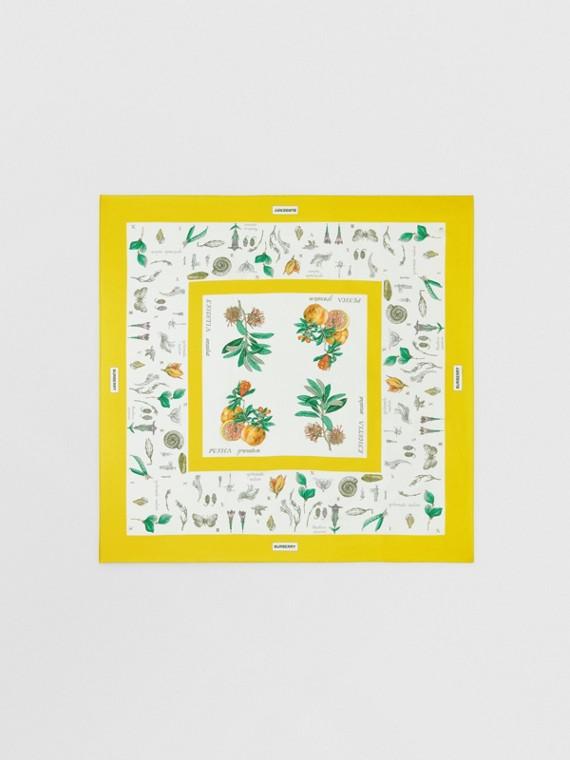 Seidenkarreeschal mit Pflanzenmotiven (Gelb)