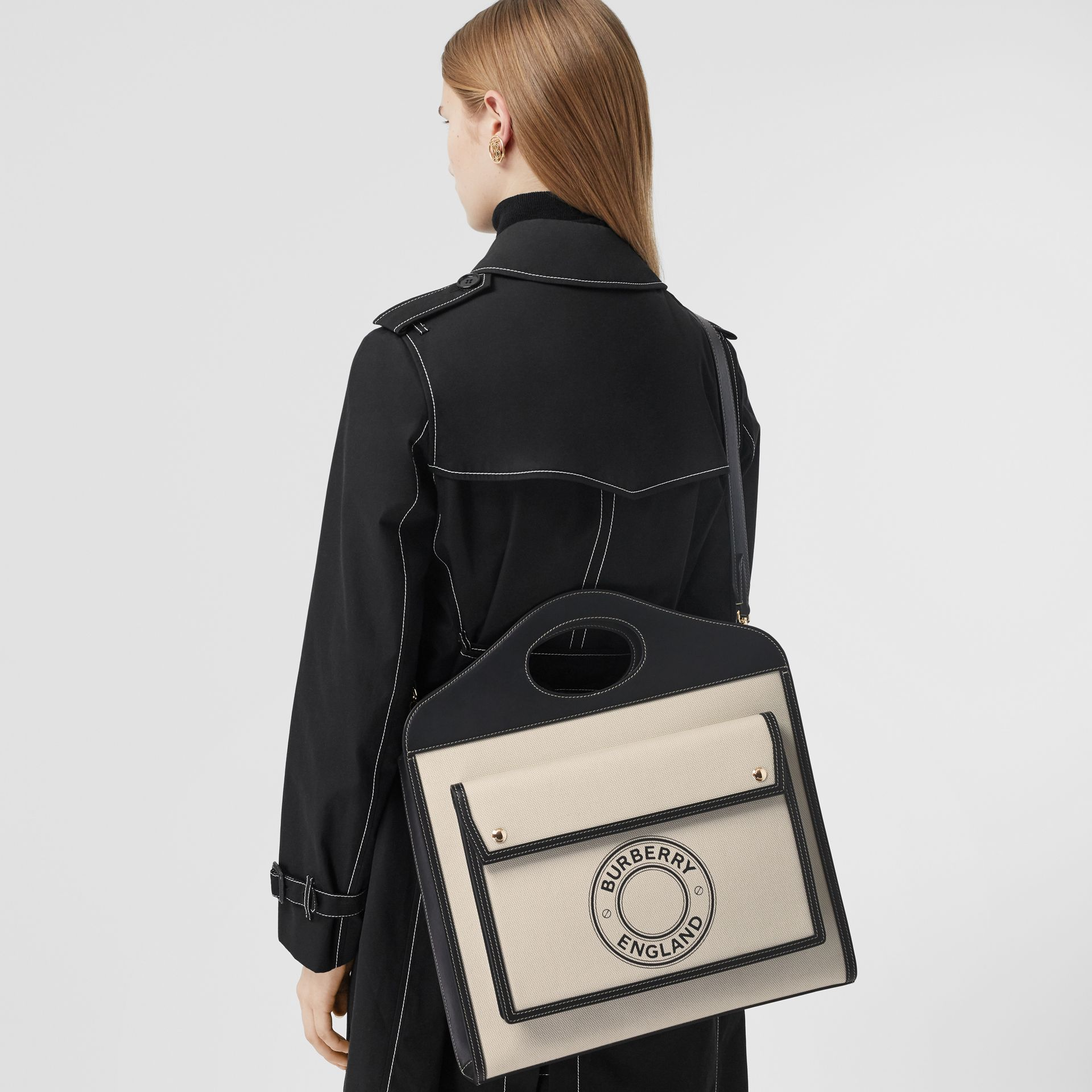 Medium Logo Graphic Canvas and Leather Pocket Bag in Black/white - Women | Burberry - gallery image 8