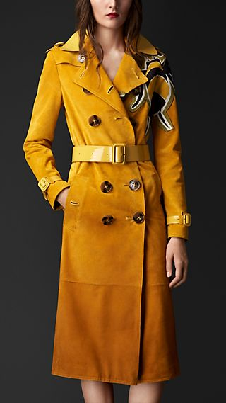 Dégradé Suede Trench Coat with Bee Motifs