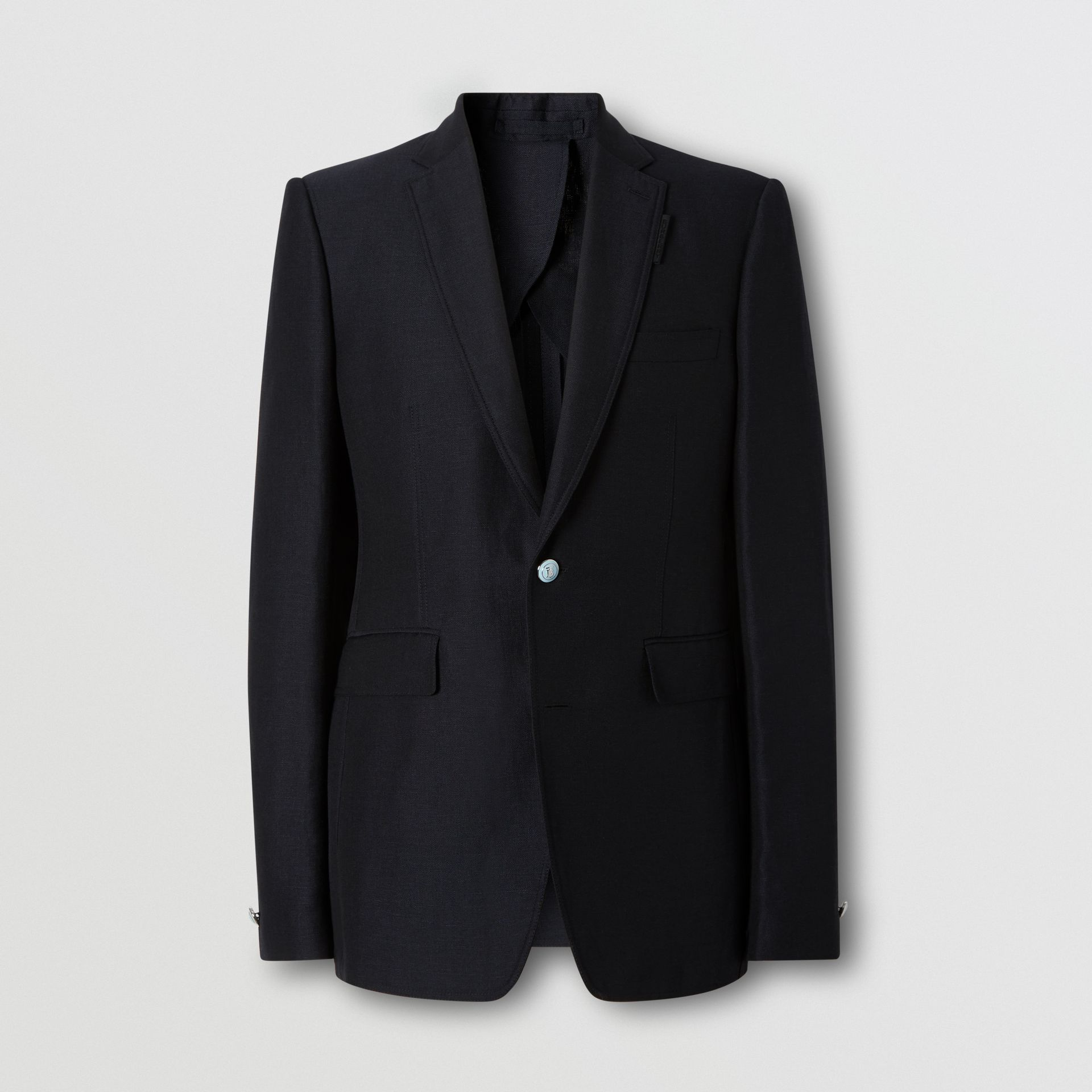 Classic Fit Wool Linen Mohair Tailored Jacket in Dark Navy - Men | Burberry - gallery image 3