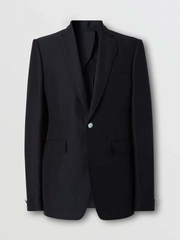 Classic Fit Wool Linen Mohair Tailored Jacket in Dark Navy - Men | Burberry - cell image 3