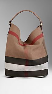 Medium Check Canvas Hobo Bag