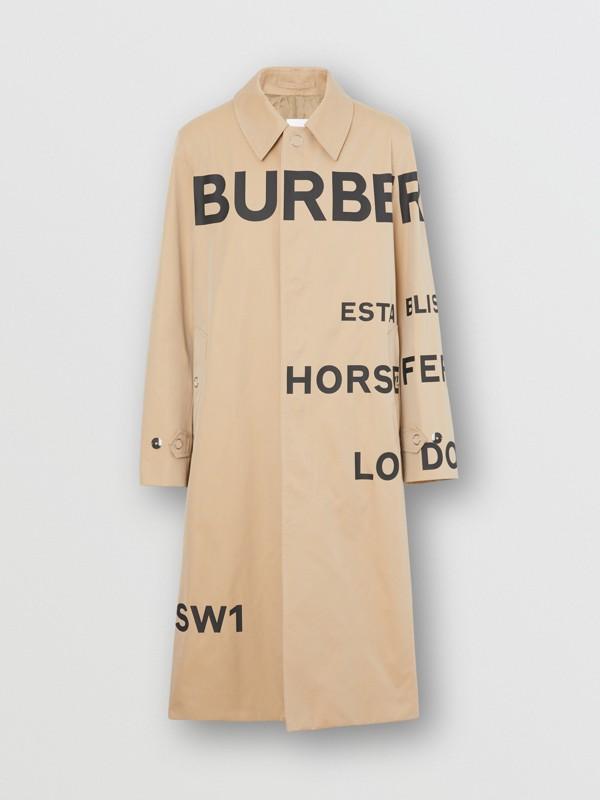 Horseferry Print Cotton Gabardine Car Coat in Honey - Men | Burberry - cell image 3
