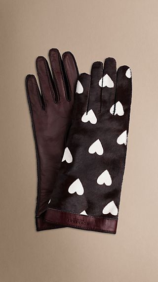 Heart Print Calfskin Gloves