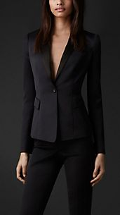 Stretch-Wool Tuxedo Jacket