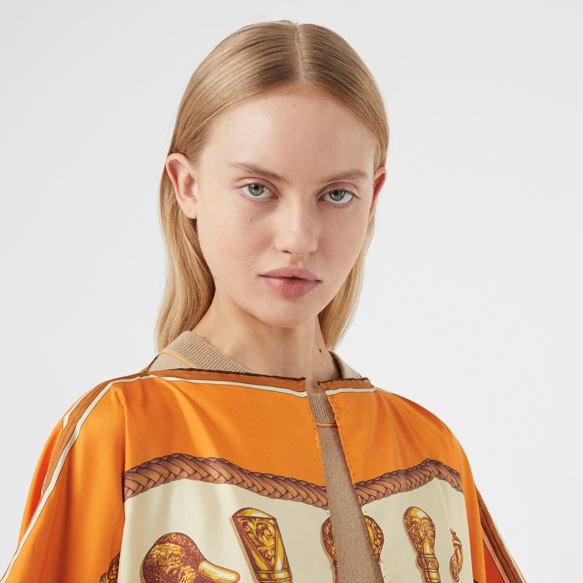 Archive Scarf Print Silk Twill Cape in Bright Orange - Women | Burberry - gallery image 1