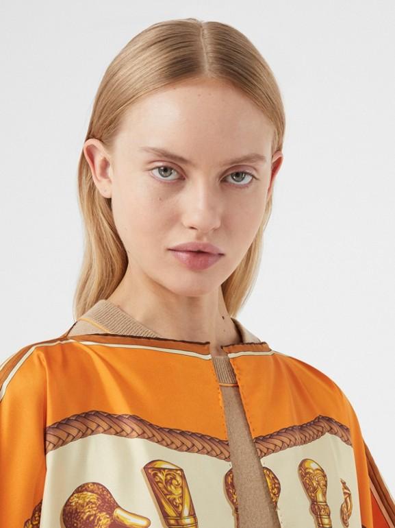 Archive Scarf Print Silk Twill Cape in Bright Orange - Women | Burberry - cell image 1
