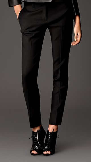 Stretch Wool Blend Slim Fit Trousers