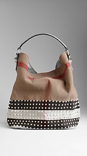 Medium Studded Check Canvas Hobo Bag