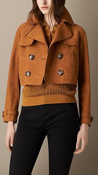 Cropped Oversize Nubuck Jacket