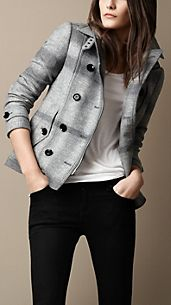 Pea coat con baschina check