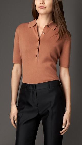 Merino Wool Silk Polo Shirt