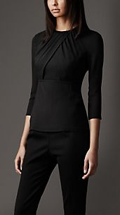 Stretch-Silk Crossover Front Top