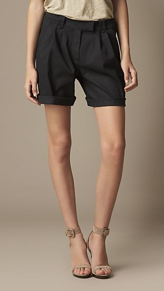 Pleat Detail Cotton Twill Shorts