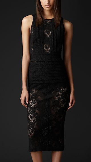 English Lace Pleat Detail Dress