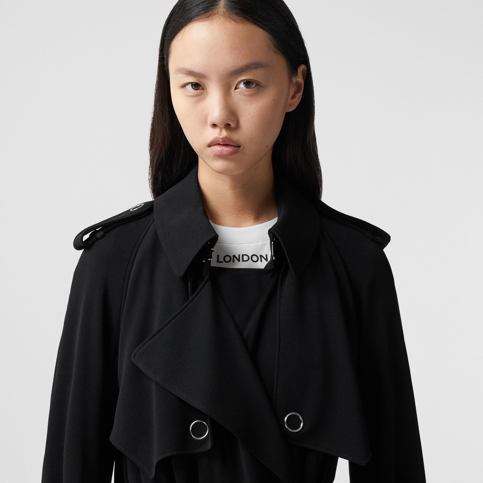 Press-stud Detail Jersey Trench Coat in Black - Women | Burberry - gallery image 7
