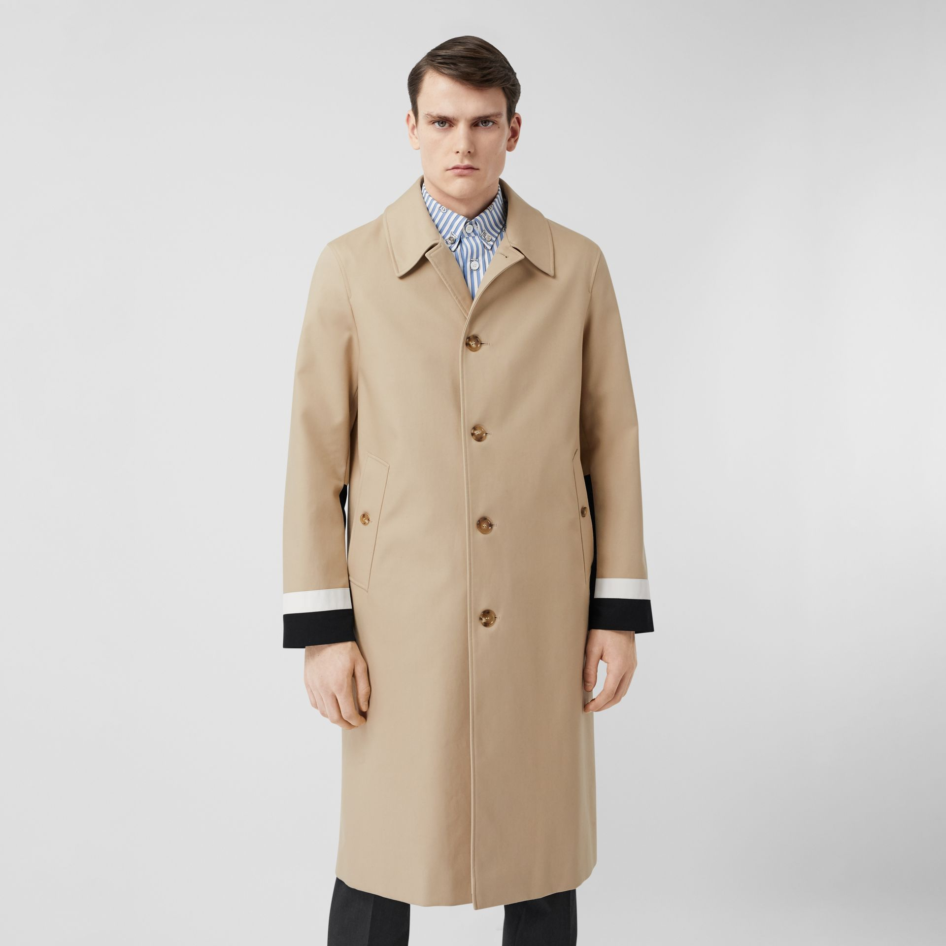 Stripe Detail Cotton Gabardine Car Coat in Soft Fawn - Men | Burberry United Kingdom - gallery image 7
