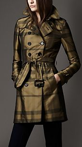 Mid-Length Technical Taffeta Twill Check Trench Coat