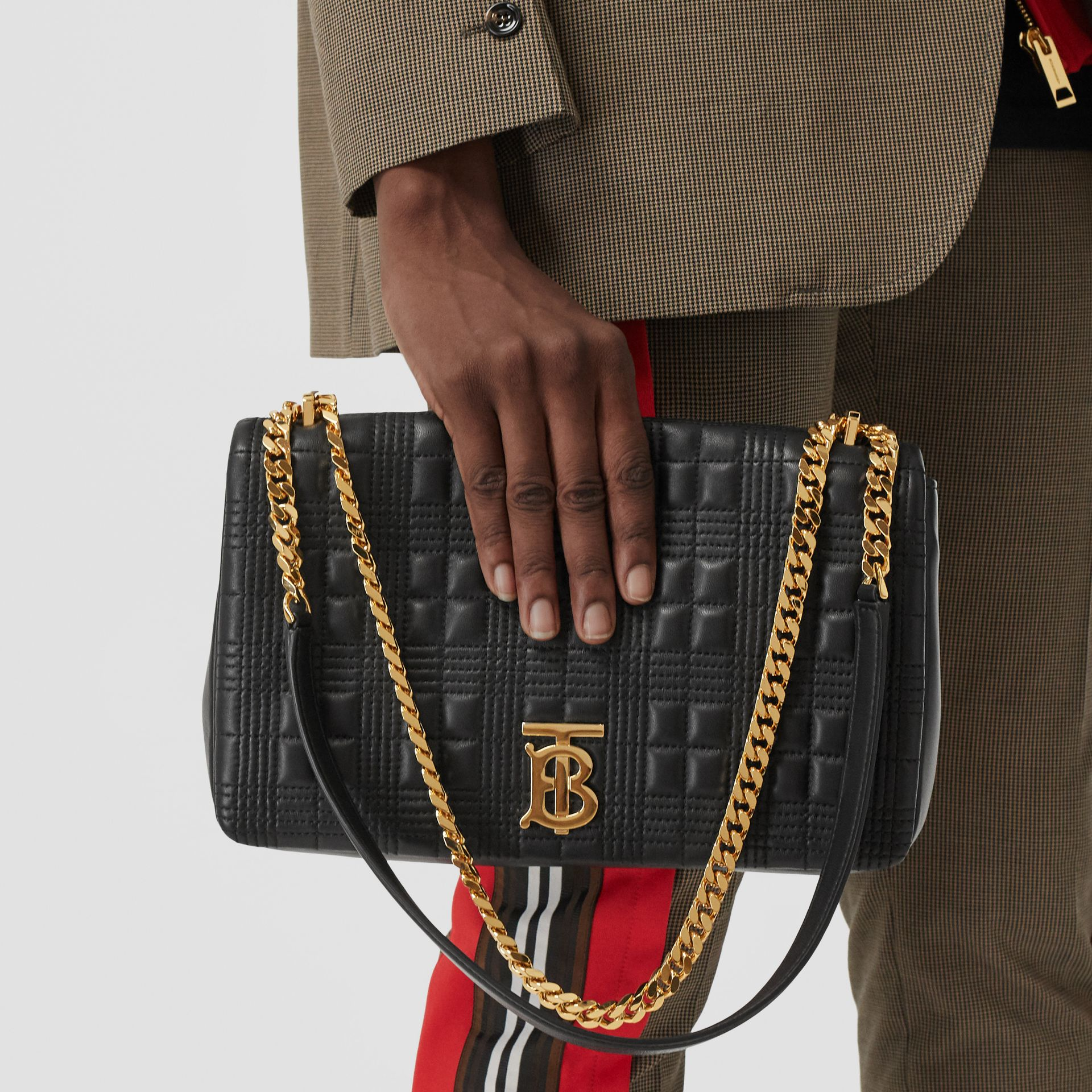 Medium Quilted Lambskin Lola Bag in Black/light Gold - Women | Burberry United States - gallery image 2