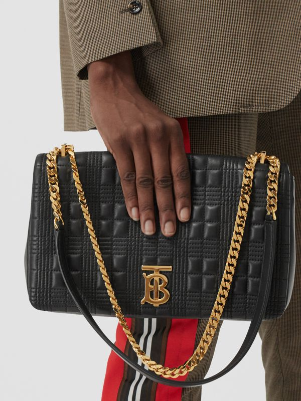 Medium Quilted Lambskin Lola Bag in Black/light Gold - Women | Burberry United States - cell image 2