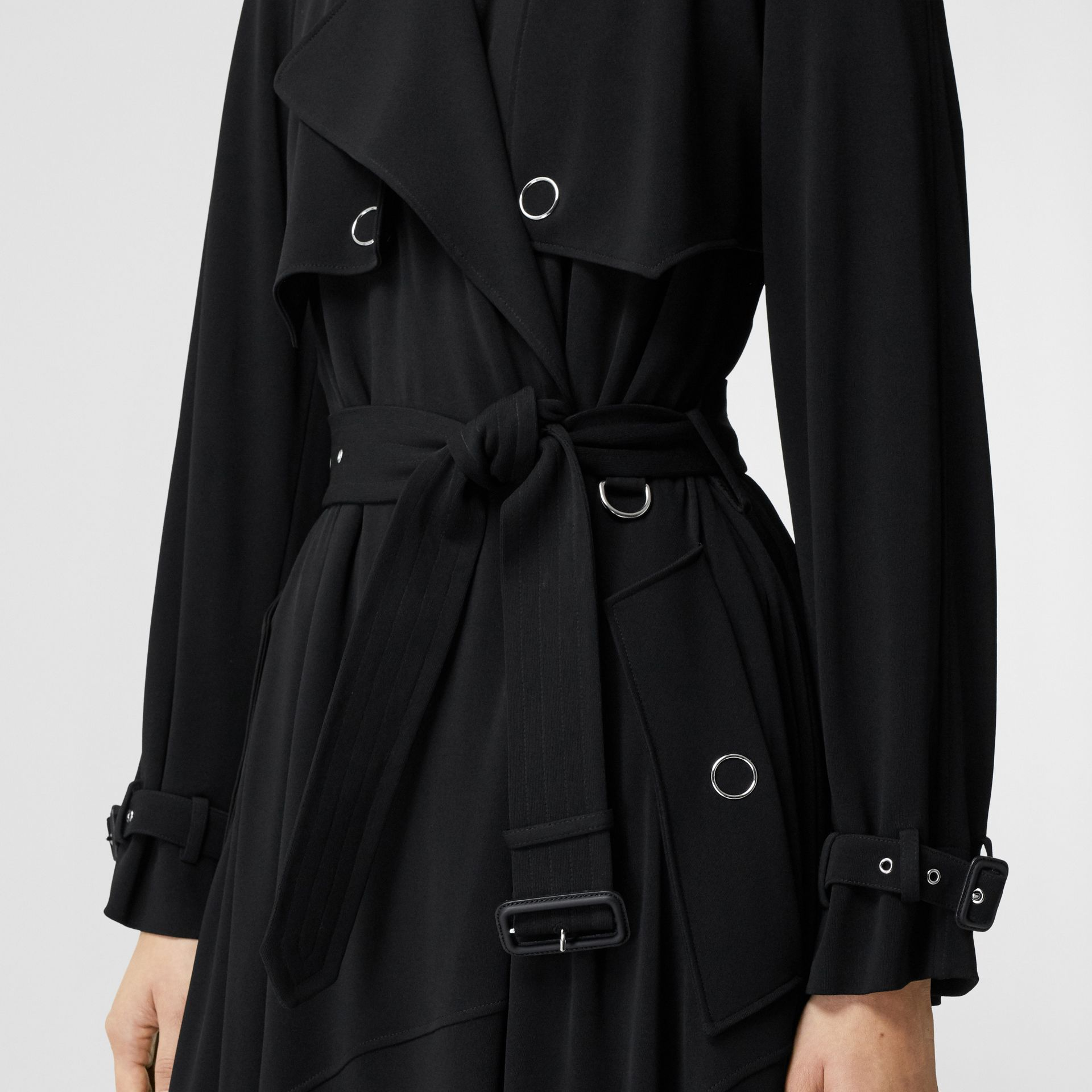Press-stud Detail Jersey Trench Coat in Black - Women | Burberry - gallery image 4