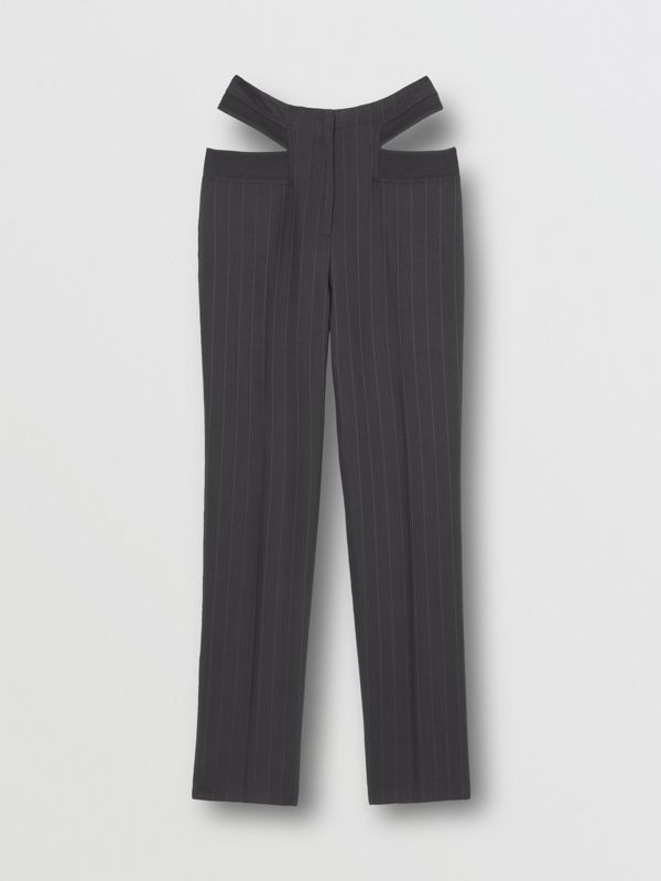 Pinstriped Technical Twill Reconstructed Trousers in Black - Women | Burberry - cell image 3