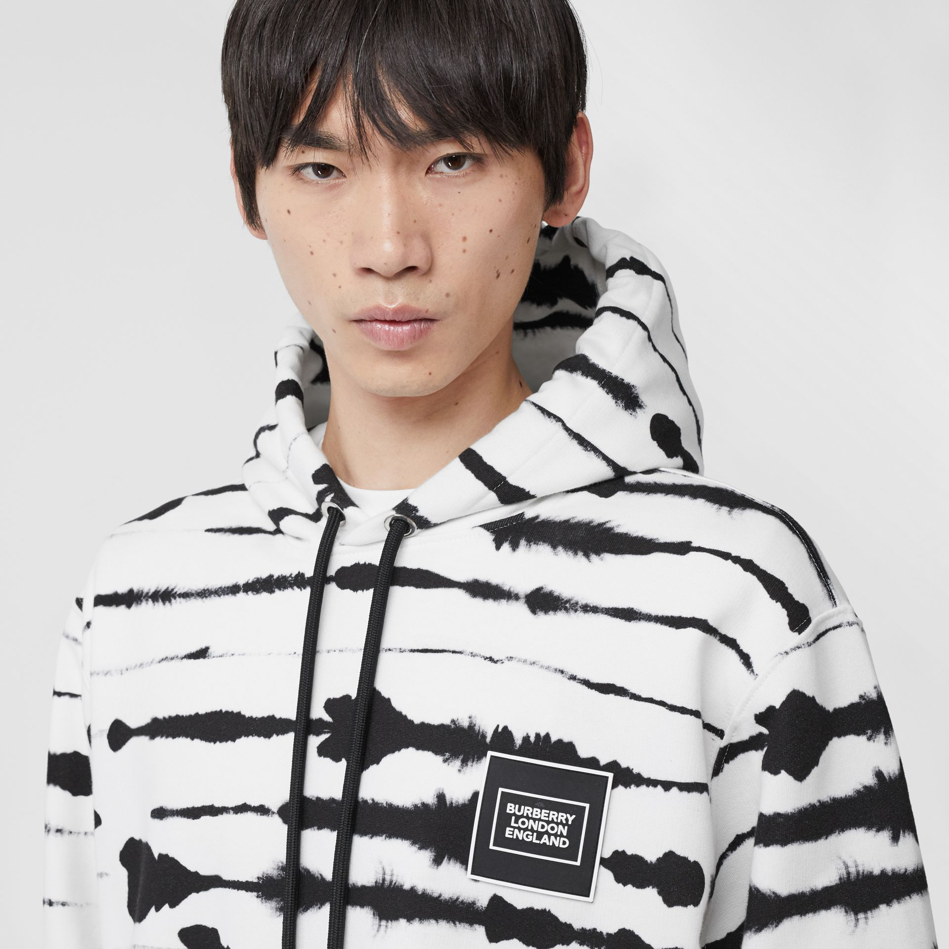 Logo Appliqué Watercolour Print Cotton Hoodie in Monochrome | Burberry Australia - gallery image 4