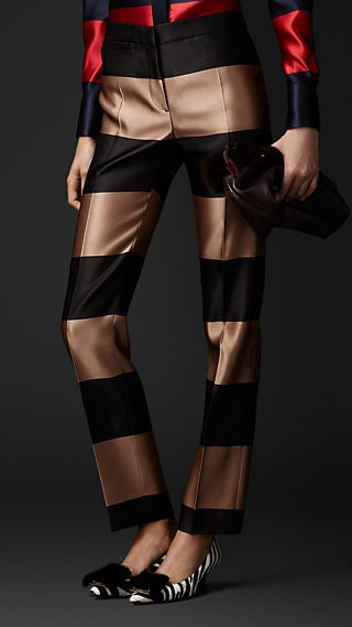 Double Silk Satin Striped Trousers