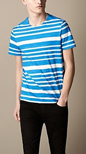 Printed Stripe Cotton T-Shirt