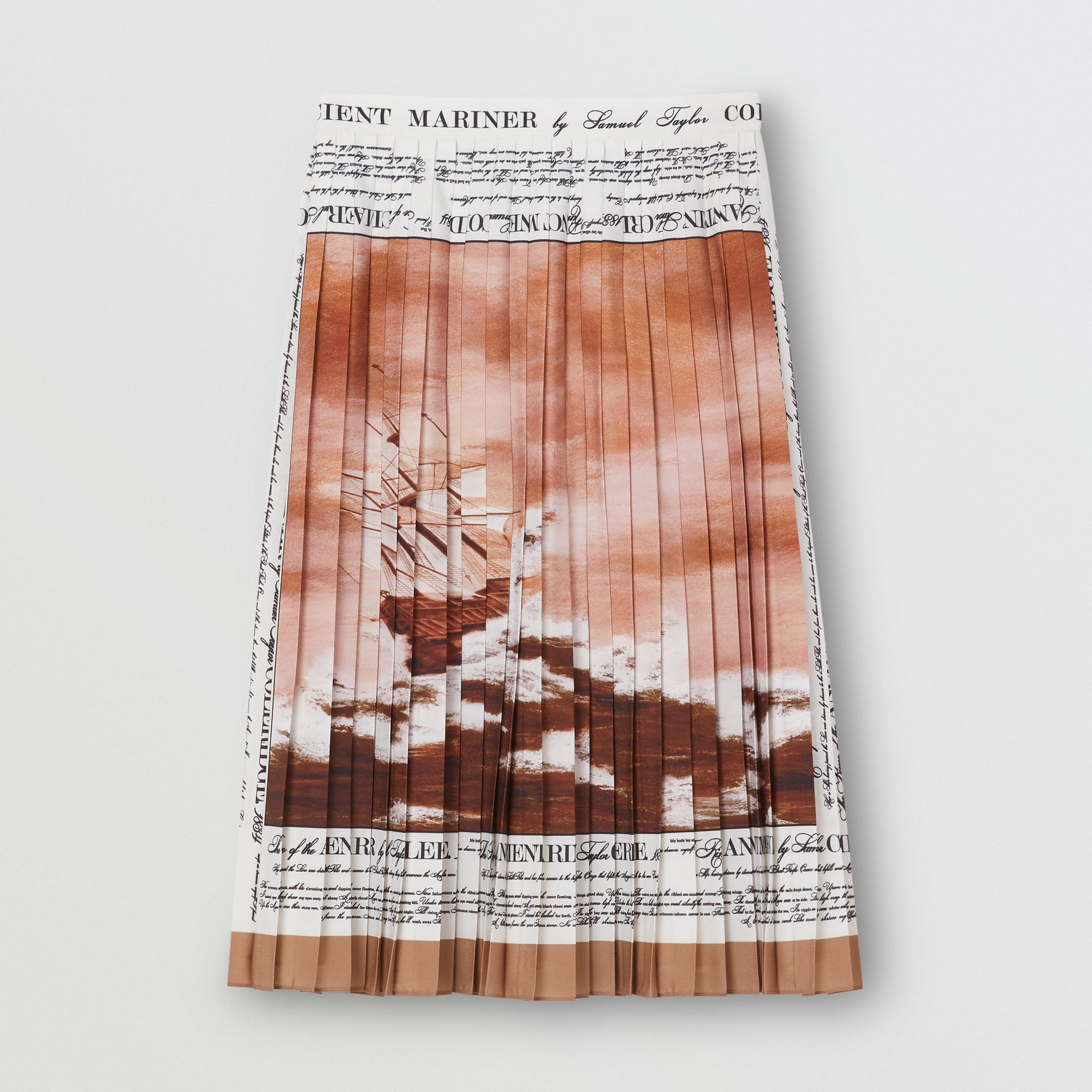 Mariner Print Pleated Cady Skirt in Bronze - Women | Burberry - gallery image 3