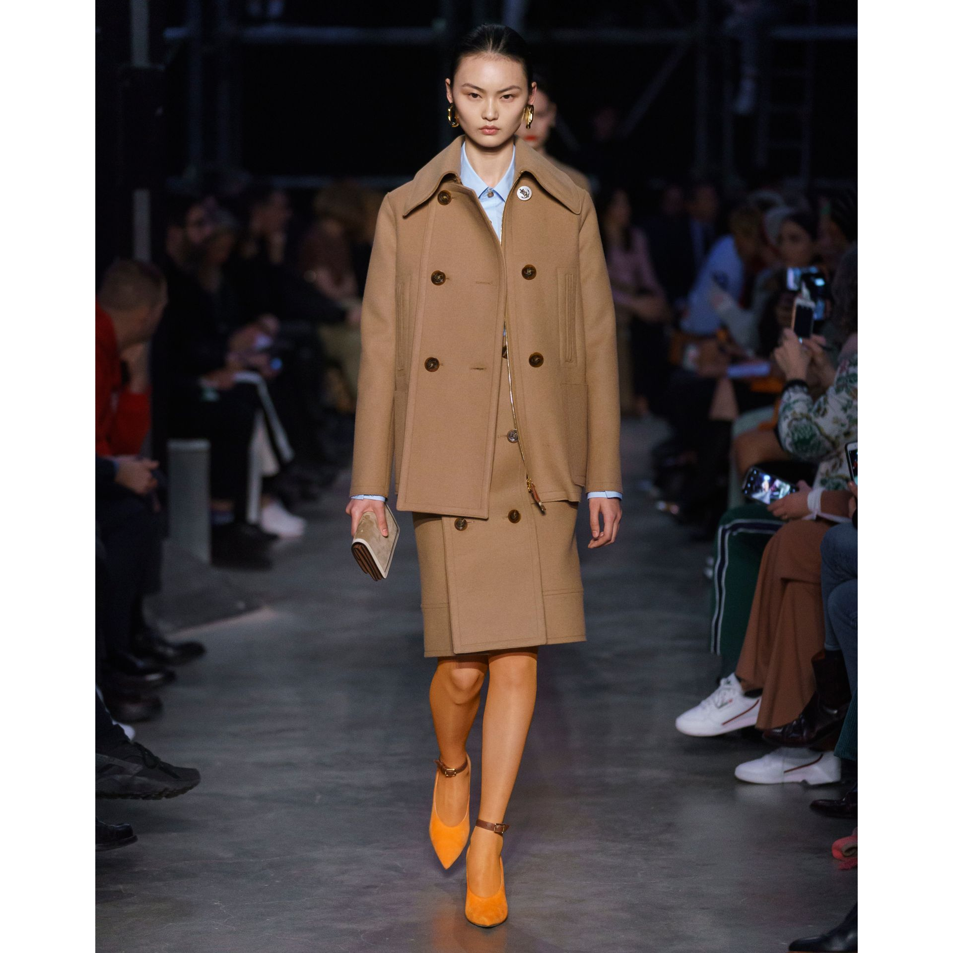 Button Panel Detail Wool Cashmere Pea Coat in Camel - Women | Burberry - gallery image 8