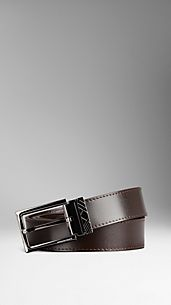 Check Engraved Leather Belt