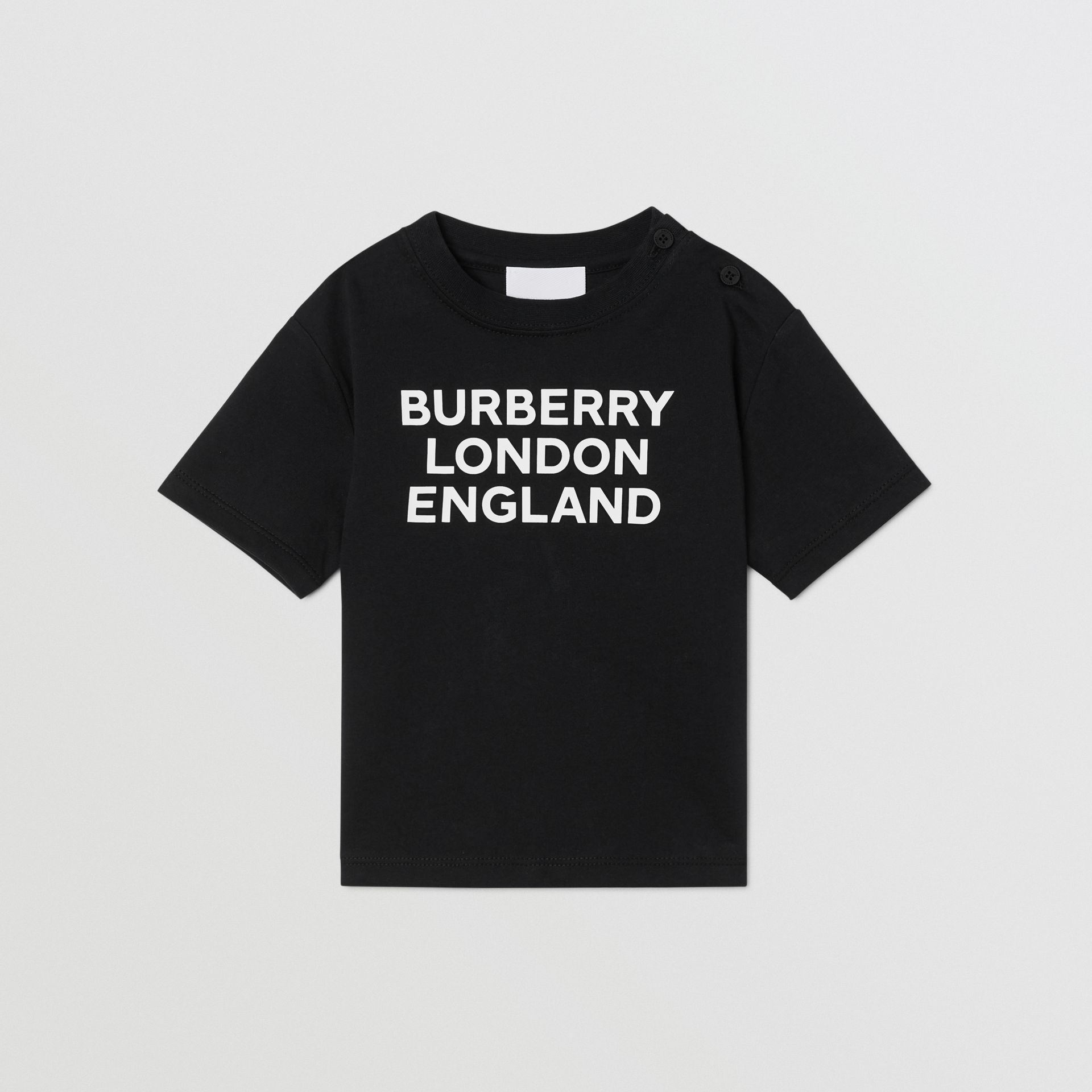 Logo Print Cotton T-shirt in Black - Children | Burberry - gallery image 0