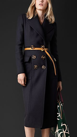 Sculptural Wool Twill Tailored Coat
