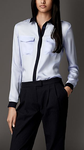 Contrast Detail Silk Twill Shirt