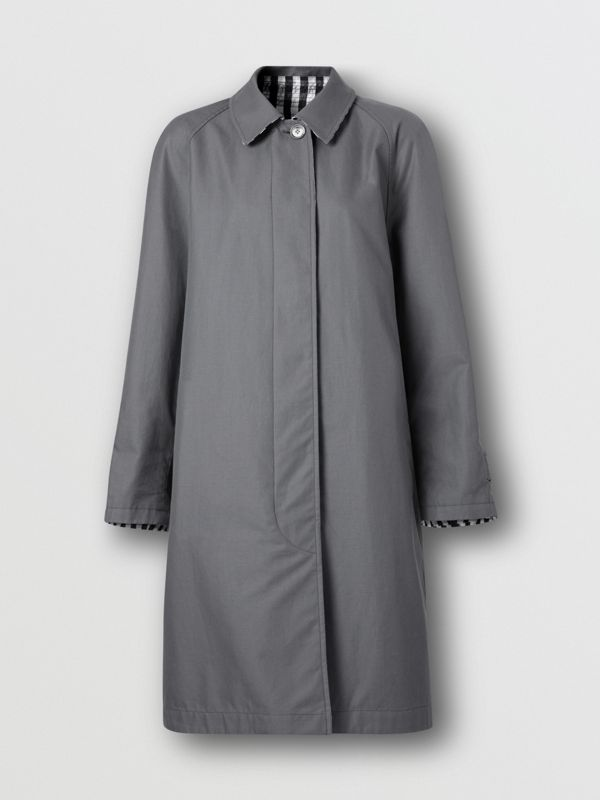 Reversible Cotton Gabardine Car Coat in Mid Grey - Women | Burberry - cell image 3