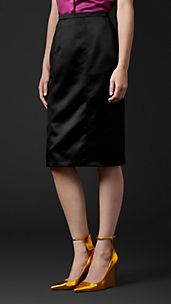 Fitted Satin Pencil Skirt