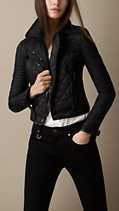 Quilted Leather Detail Biker Jacket
