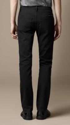 斯特德曼黑色磨砂修身牛仔裤