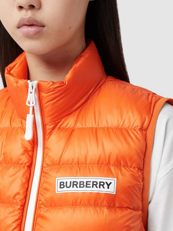 Logo Print Lightweight Puffer Gilet in Bright Orange - Women | Burberry United Kingdom - cell image 1