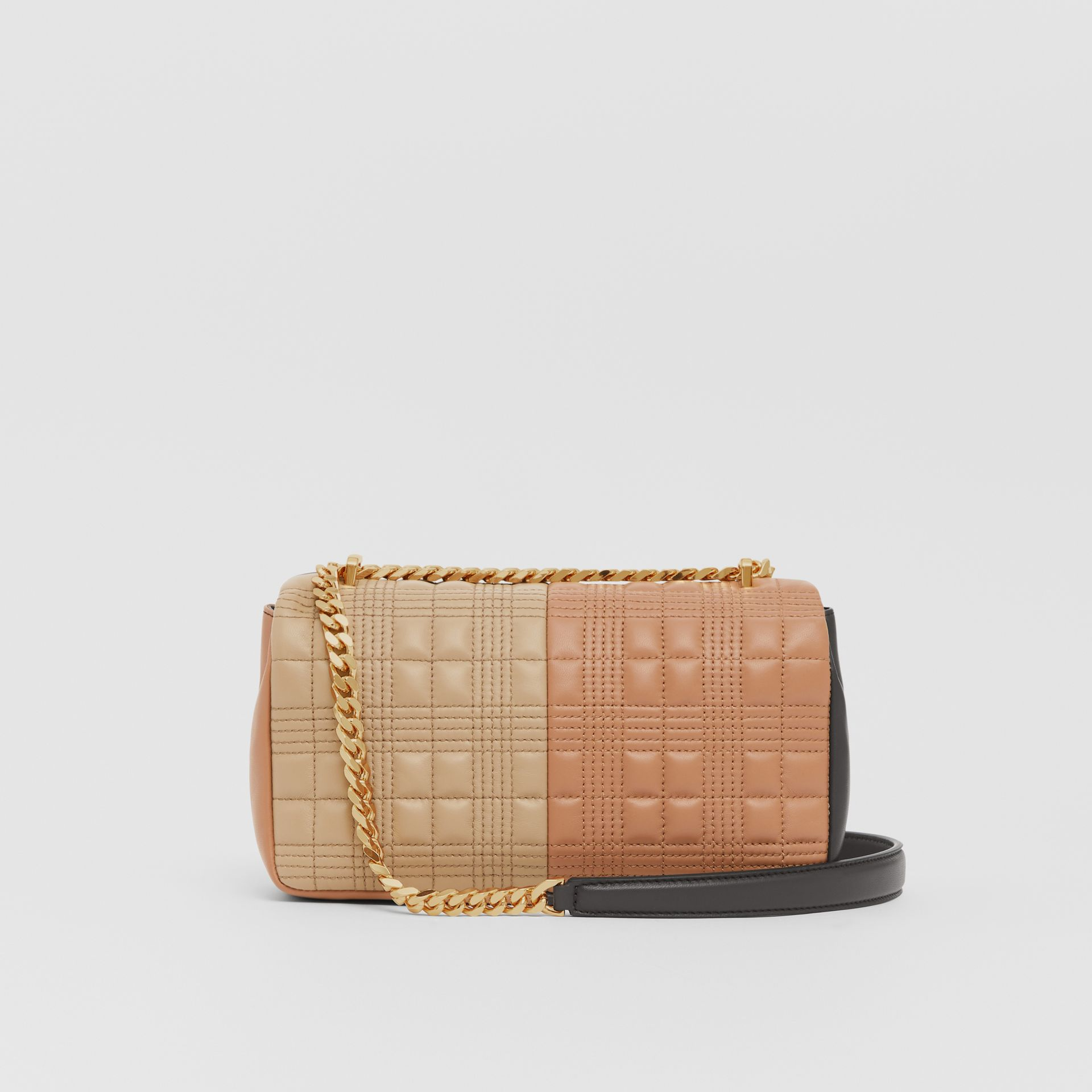 Small Quilted Colour Block Lambskin Lola Bag in Soft Fawn/dark Mocha - Women | Burberry United Kingdom - gallery image 7