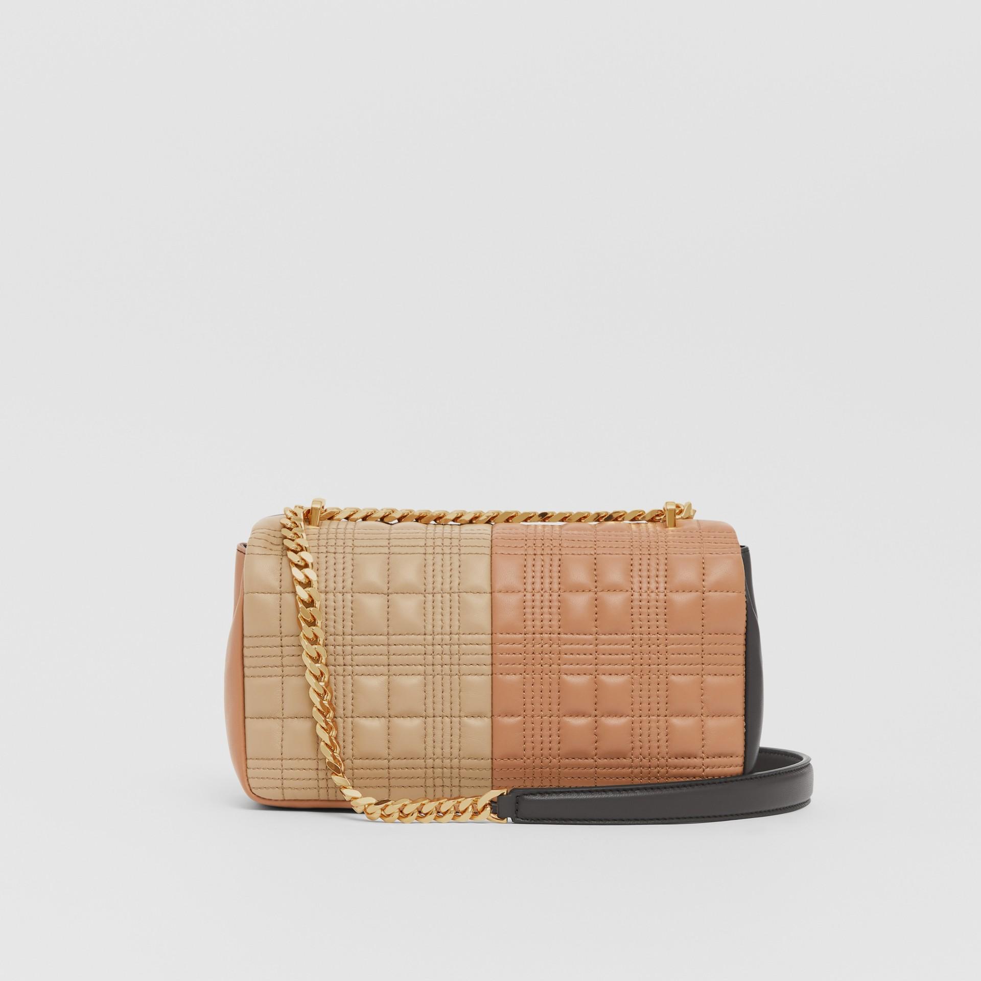Bolsa Lola de couro de cordeiro em colour block - Pequena (Fulvo Suave/mocha Escuro) - Mulheres | Burberry - galeria de imagens 7