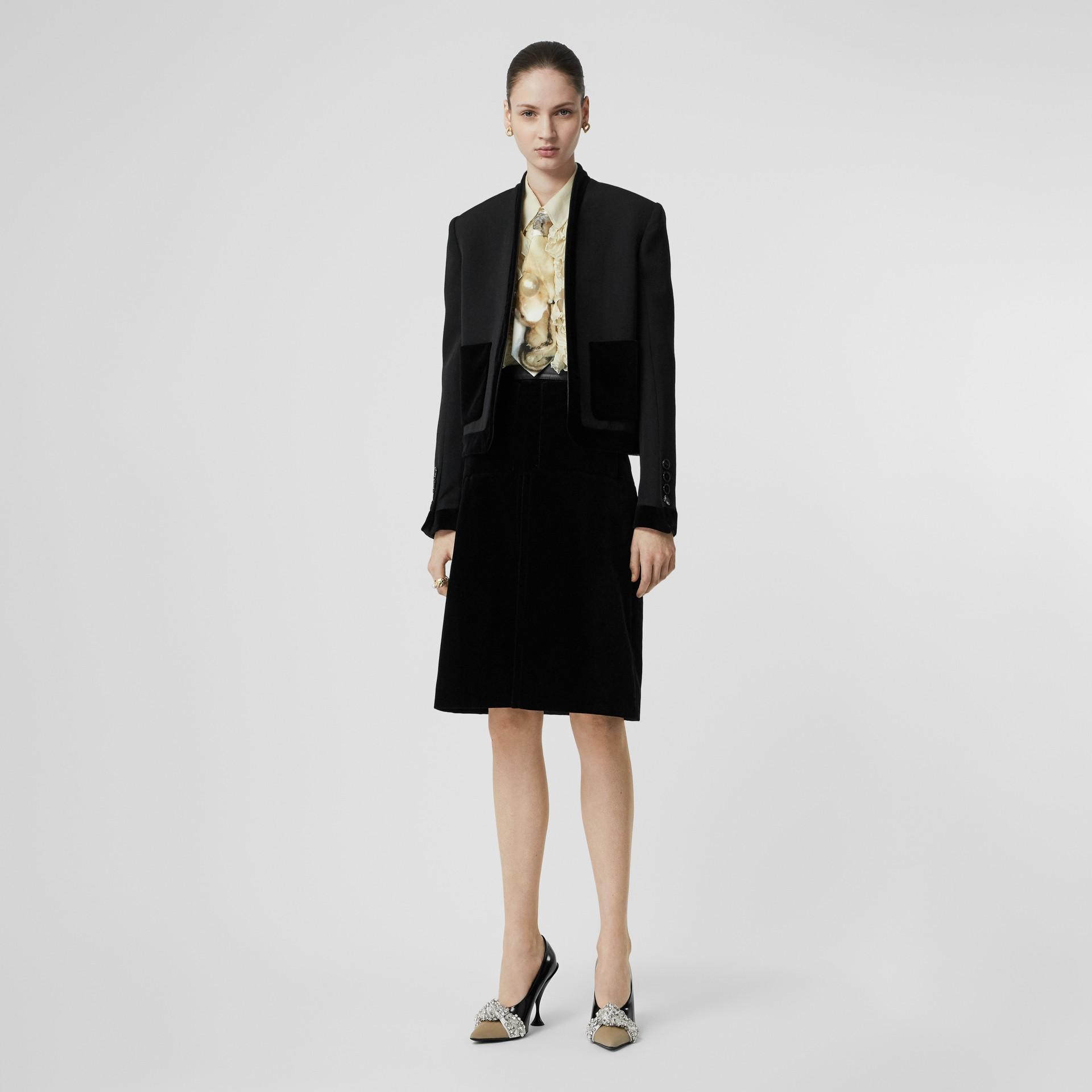 Lambskin Trim Box Pleat Detail Velvet and Wool Skirt in Black - Women | Burberry - gallery image 0