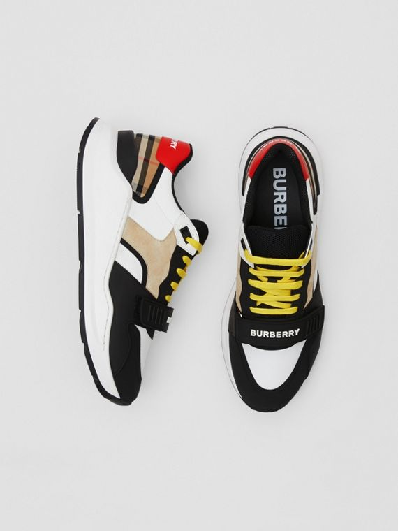 Nylon, Suede and Vintage Check Sneakers in Archive Beige