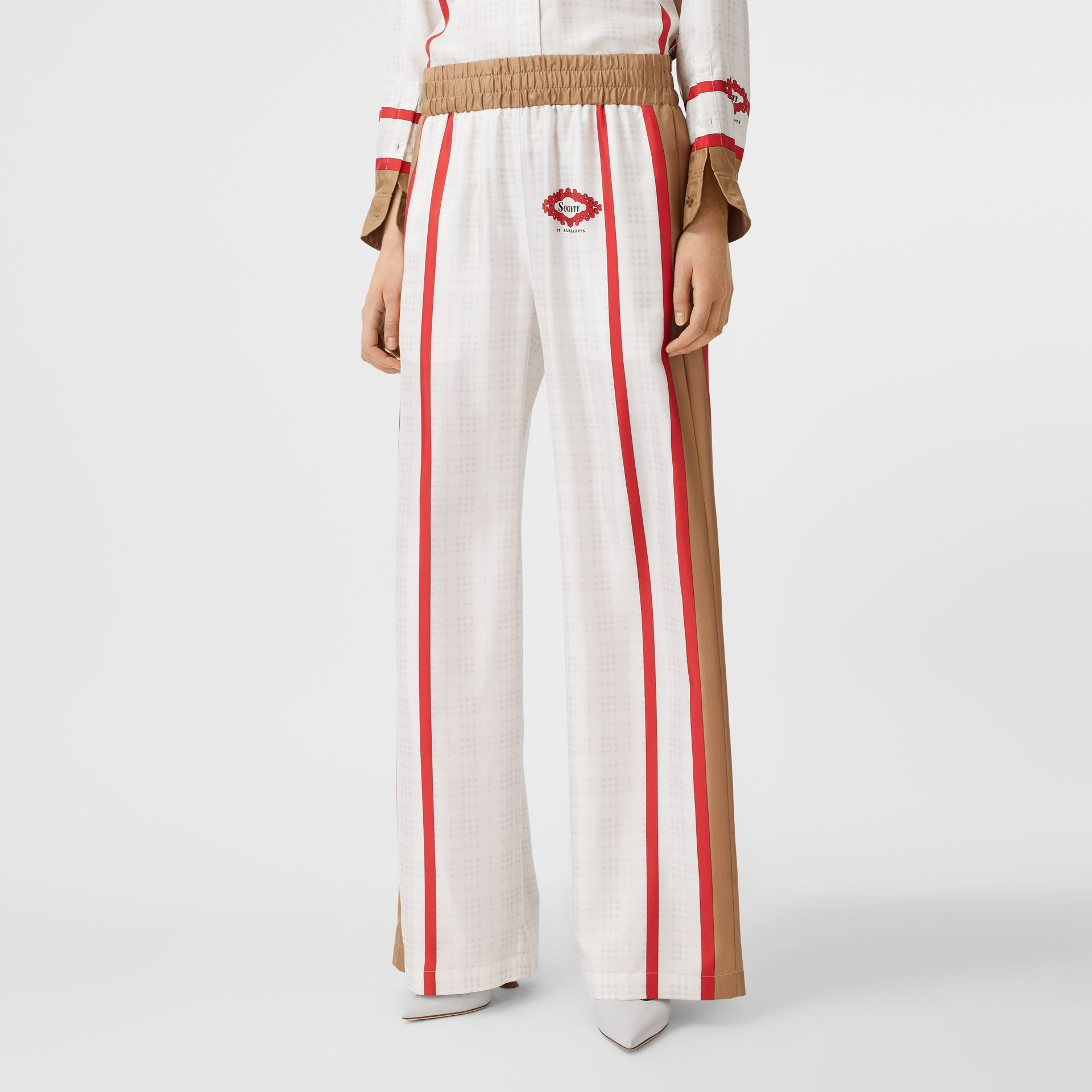 Archive Scarf Print Silk Wide-leg Trousers in Honey - Women | Burberry United Kingdom - gallery image 3