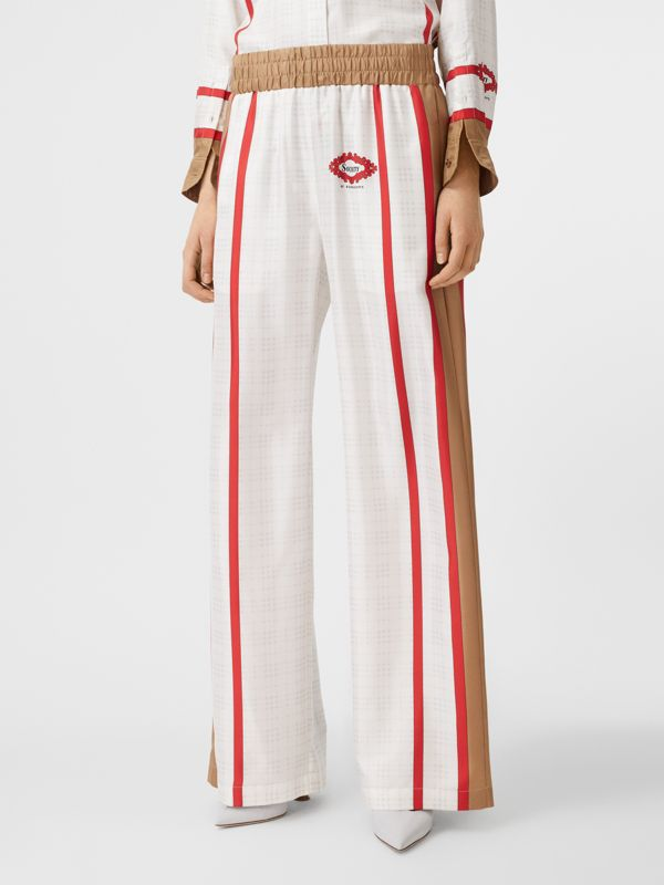 Archive Scarf Print Silk Wide-leg Trousers in Honey - Women | Burberry United Kingdom - cell image 3