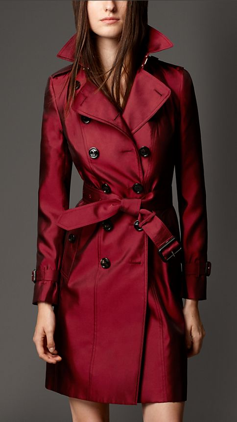 Military red Silk Blend Trench Coat - Image 1