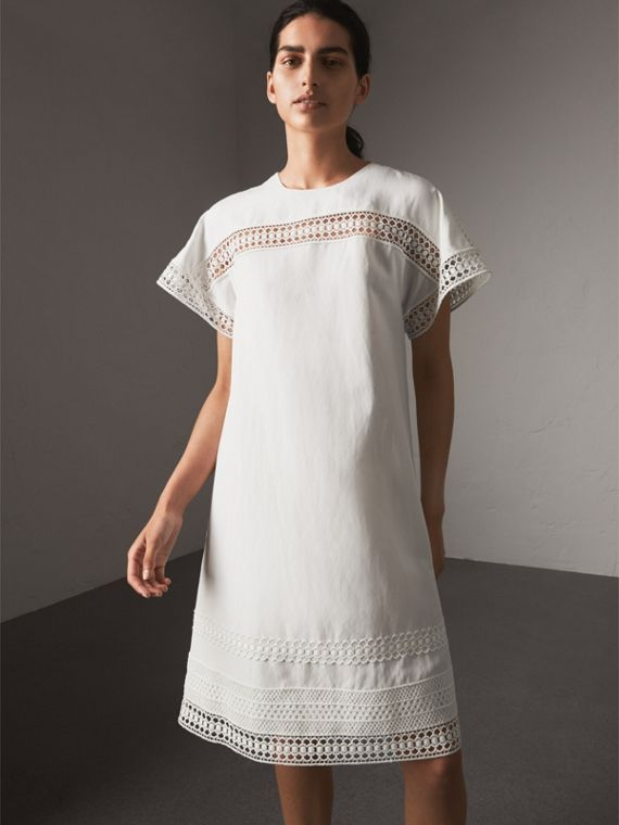 Short-sleeved Macramé Lace Detail Silk Blend Dress - Women | Burberry